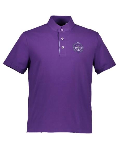 Polo collar Mao short sleeve Jersey (coton/lycra) (BLEU CIEL)